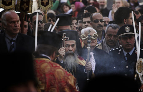 Greek Orthodox Patriarch of Jerusalem Theofilos III takes part in the Orthodox Christmas procession outside the Church of the Nativity, Bethlehem, 6 Jan 2009