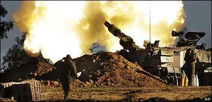 Artillería israelí.