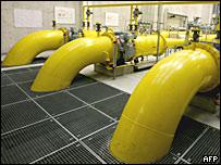 Газовые трубы на предприятии в Австрии