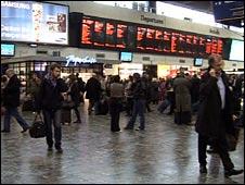 Rail travellers at London Euston