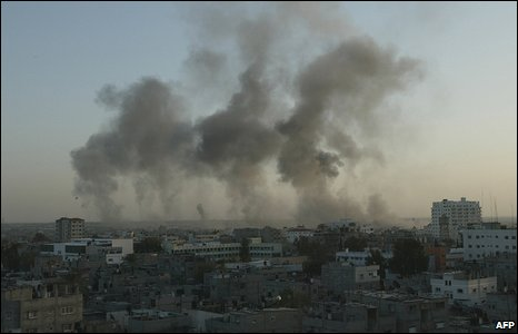 Moments after Israeli bombardment along border between Egypt and Gaza