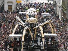 The mechanical spider crossing Liverpool