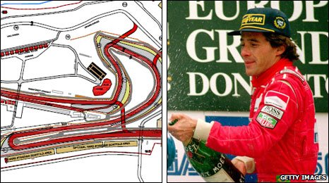 Donington Park plans (left) and Ayrton Senna at Donington in 1993
