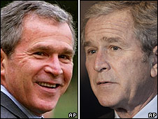 George W Bush in 2001 and 2008