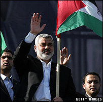Hamas leader, Ismail Haniyeh,waves to his supporters during a mass rally on Dec 08, Gaza City