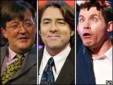 Stephen Fry, Jonathan Ross and Lee Evans
