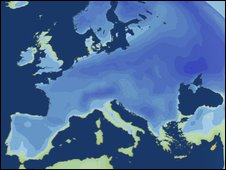 Europe cold weather map