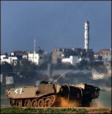An Israeli armoured vehicle, 7 Jan