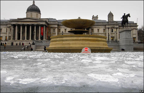 An icy Trafalgar Square, London