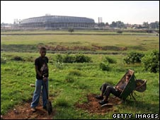 Youths at Orlando Pirates stadium in Soweto