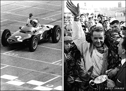 American Phil Hill wins the 1961 Italian Grand Prix and with it the world title