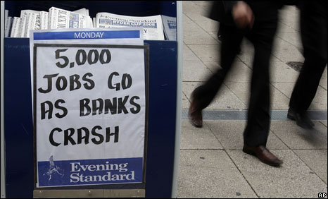 A newspaper placard after the Lehman Brothers announcement last year