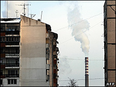 View of Druzhba thermal power station in Sofia, 7 Jan 09