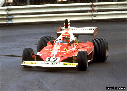 Niki Lauda on his way to victory in the 1975 Monaco Grand Prix