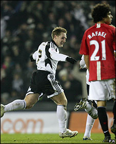 Kris Commons celebrates after putting Derby County ahead