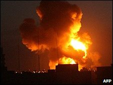 Fire and smoke over Rafah after an Israeli strike in Gaza. Photo: January 2009