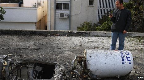 Aftermath of rocket attack against Israel from Lebanon