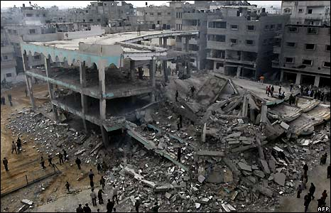 Destroyed building in Gaza City
