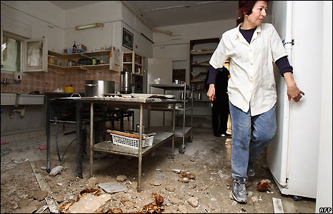 Damage to a kitchen in Nahariya from rocket fired from southern Lebanon