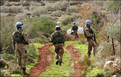 Italian peacekeepers with the UN Interim Force in Lebanon (Unifil) on patrol in southern Lebanon in area where rockets were launched on Israel