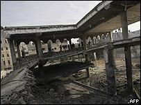 Edificio destruido en la Ciudad de Gaza.