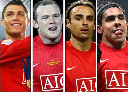 Cristiano Ronaldo, Wayne Rooney, Dimitar Berbatov and Carlos Tevez
