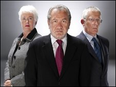 Margaret Mountford, Sir Alan Sugar and Nick Hewer