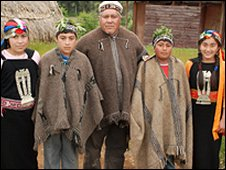 Mauricio Painefil (centre), a Mapuche community spokesman, with his family