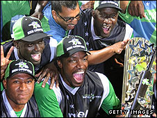 Chris Gayle and co celebrate