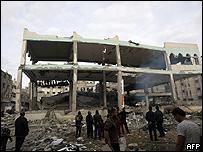 Una mezquita destruida en el norte de la Franja de Gaza
