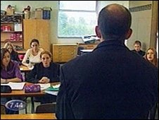 A teacher faces a classroom
