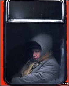 Woman on an unheated tram in Sofia, Bulgaria, on 8/1/09