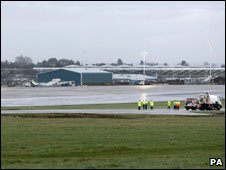 Scene of accident at Bristol Airport