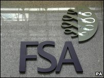 Financial Services Authority sign on their building in Canary Wharf, London