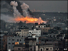 Fire in Gaza City following Israeli military operations