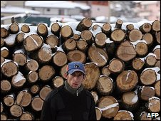 Firewood seller in Sofia, Bulgaria