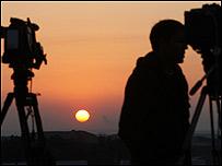 Periodista extranjero en la frontera de Israel con Gaza