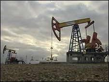 Oil field in Ural Mountains