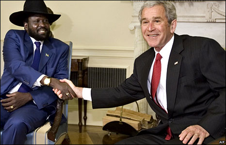 Salva Kiir, Sudan's vice-president and South Sudan's leader, shakes hands with US President George Bush.