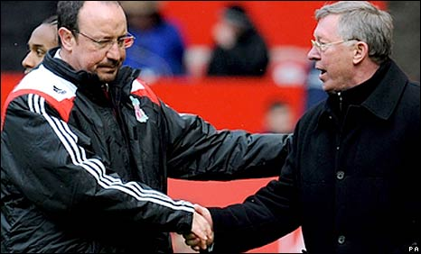 Liverpool boss Rafa Benitez (left) with Man Utd's Sir Alex Ferguson