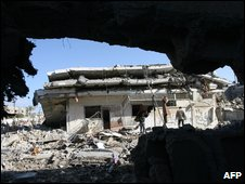 Rubble in Rafah, southern Gaza Strip