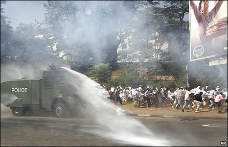 Riot police using water canon on protesters in Kenya