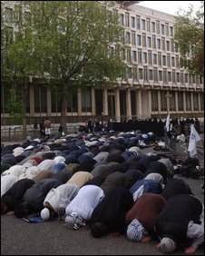 Muslims pray outside embassy