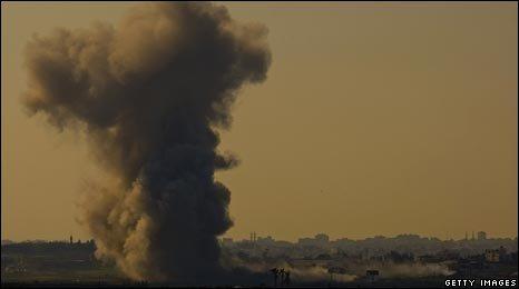 Smoke billows over Gaza on January 10 as seen from Israel/Gaza border