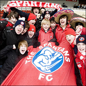 Young Spartans fans are in good spirits as they travel to Airdrie in support of their team's cup campaign