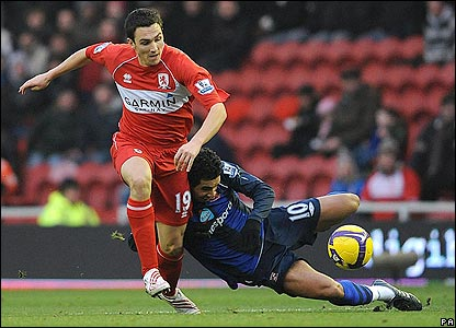 Downing tangles with Kieran Richardson