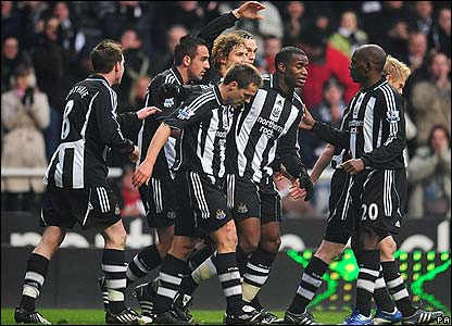 Newcastle celebrate the opening goal