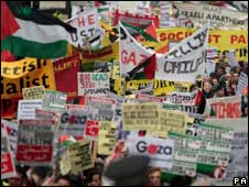 Protesters during a rally against the Israeli action in Gaza, organised by Stop the War Coalition (Scotland), march through Edinburgh city centre