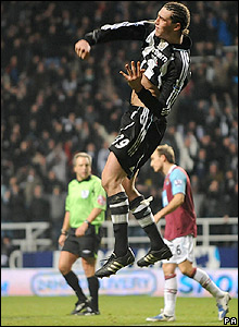 Carroll celebrates his equaliser