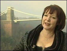 Catherine Johnson in front of Bristol Suspension Bridge